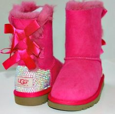 Kids Bailey Bow Uggs with Swarovski by HarrietHazelDesigns on Etsy