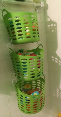 Bath toy storage already have the tubs! Think they need drain holes drilled in the bottoms thiugh