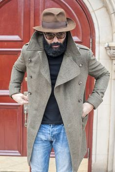 Wide brim fedora with long coat