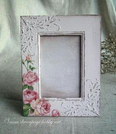 Napkin Decoupage, Decoupage Box, Decoupage Vintage, Hobbies And Crafts, Fun Crafts, Diy And Crafts, Picture Frame Crafts, Picture Frames, Shabby Chic Frames
