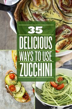 Healthy Food 35 Delicious Ways To Use Zucchini - some may need slight alterations for clean eating, but I love the concepts! How to lose weight fast ? Vegetable Recipes, Vegetarian Recipes, Cooking Recipes, Healthy Recipes, Cooking Tips, Drink Recipes, I Love Food, Good Food, Yummy Food