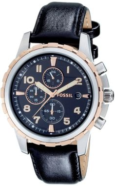 Fossil Men's FS4545 Black Leather Strap Black Analog Dial Chronograph Watch < $65.00 > Fossil Watch Men