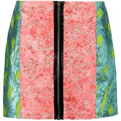 Markus Lupfer Jacquard mini skirt (£144) ❤ liked on Polyvore featuring skirts, mini skirts, coral, zipper skirt, short red skirt, red mini skirt, colorful skirts and red skirt
