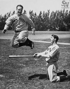 April 30, 1939 - Lou Gehrig played his last game with the Yankees. He had played in 2,130 consecutive games.   New York Yankees Lou Gehrig leaps over a bat held by Joe DiMaggio during spring training. (Sporting News Archives)