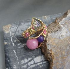 Wire Ring with Gemstones, Copper Adjustable Wire Ring, studiodct. $26.00, via Etsy.