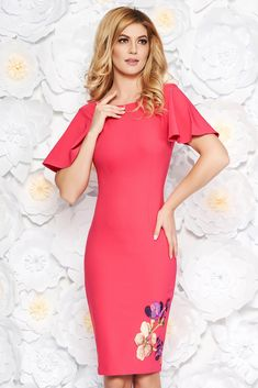2ca104f644fc StarShinerS fuchsia elegant pencil dress slightly elastic fabric with  embroidery details, tented cut, embroidery