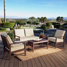 Coral Coast Cabos Collection Wood Lounge Patio Set - Seats 4 - $999.98 @hayneedle