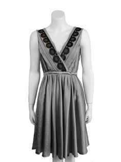 MOSCHINO DRESS $447.60 • Pleated silk dress • Sleeveless, Dress, Pleated, Belted, V-Neck, Embroidered Neckline, in silk and wool mix  • 50% SILK / 42% WOOL • DRY CLEAN ONLY