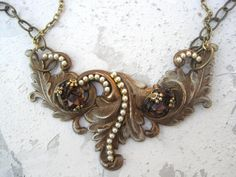 Victorian style acanthus necklace by Cathy by cathybuckleycatsmeow, $60.00