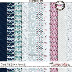 Save The Date Add On Patterned Paper Pack - 10 beautifully textured and patterned papers coordinating with the March 2017 Mini O Colors Pattern Paper, Save The Date, Digital Scrapbooking, Texture, Creative, Patterns, Color, Surface Finish, Block Prints