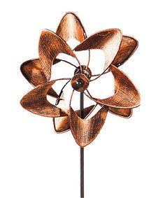 Look at this #zulilyfind! Orange Flower Brushed Metallic Kinetic Garden Stake #zulilyfinds
