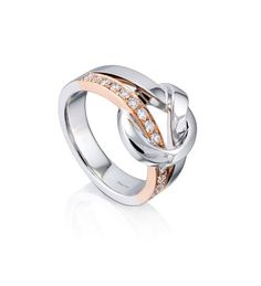 The Knot Rose And White Gold Diamond Ring