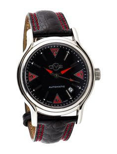 Gevril GV2 Limited Edition Watch; Love the red stitch detailing