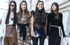 On Gilda Ambrosio (far left): Loewe Filippa Sunglasses (£295) and skirt. On Diletta Bonaiuti: Dolce and Gabbana top; Levi's jeans; Olympia Le-Tan bag. On Patricia...