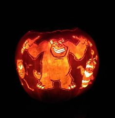Sulley monsters inc pumpkin pattern disney pumpkin for Sully pumpkin template