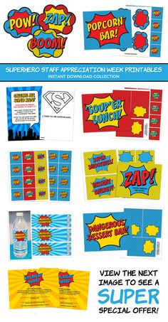 Superhero Teacher/Staff Appreciation Week - now available as an instant download! I can't decide which I like best.