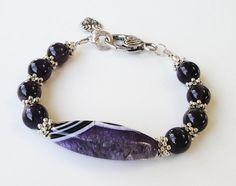 Amethyst Purple Black Large Focal AgateGemstone by BijiBijoux, $45.00