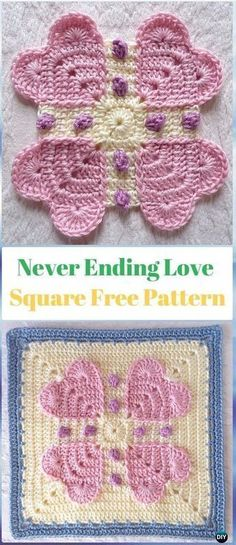 Crochet ANever Ending Love Square Free Pattern - Crochet Heart Square Free Patterns