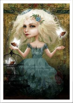 "5x7 Fantasy Art Print Blonde Haired Girl with Flying Turtles ""If You Love Them Set Them Free"" Premium Giclee Fine Art Print Small Sized. $10.00, via Etsy."