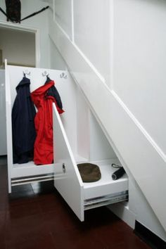 Under stairs storage by Deriba Furniture.if I had stairs in my house I would do this. Sliding Cupboard, Under Stairs Cupboard, Coat Cupboard, Cupboard Ideas, Coat Storage, Stair Storage, Stair Drawers, Staircase Storage, Mini Loft