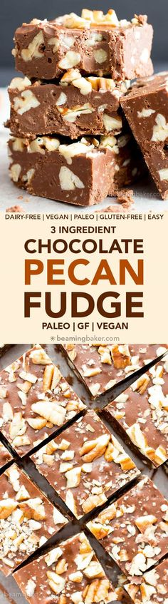 3 Ingredient Chocolate Pecan Fudge (V, GF) a 5-minute recipe for thick, luxurious fudge bursting with pecans. Paleo, Vegan, Gluten Free, Dairy-Free. #Paleo #Vegan #GlutenFree #DairyFree #Chocolate #Dessert | Recipe on BeamingBaker.com