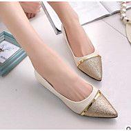 Γυναικείο+Παπούτσια+PU+Άνοιξη+Ανατομικό+Χωρίς+Τακούνι+Επίπεδο+Κλειστά+Δάχτυλα+Μυτερή+Μύτη+για+Causal+Μαύρο+Μπεζ+–+EUR+€+31.79