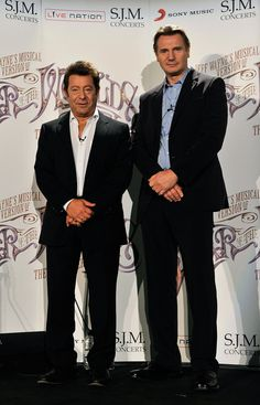Jeff Wayne and Liam Neeson at the press conference for the launch of Jeff Wayne's Musical Version of The War of the Worlds, The New Generation.