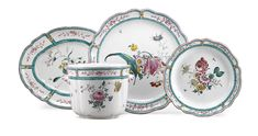 A Bologna Faience wine cooler and five dishes, Giuseppe Finck manufacture last quarter of the 18th century