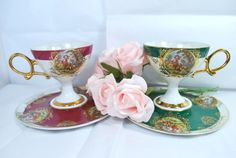 Vintage Victorian Tea Cups and Saucers by Dupasseaupresent on Etsy