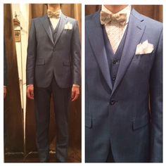 suit:ライトブルーモヘア混 shirt:白ベースマルチドット柄 bowtie:オフホワイト花柄  #新郎#カジュアルウエディング