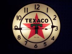 Texaco Oil Vintage Clock (Old Antique Lighted Round Pam Clock Store Gasoline Advertising Display)