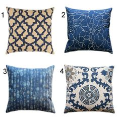 **OVERSTOCK SALE** These designer pillows are absolutely stunning! This throw pillow cover features the shades of indigo blue, taupe, and oatmeal. Perfect sofa pillows, bed pillows, or accent pillows for chairs!  Cushion Cover Features:  • Made to fit a 16x16 inch pillow insert  • Colors: ingido, taupe, oatmeal  • Fabric: 87% Cotton, 13% rayon medium-weight fabric  • Same fabric on front and back, pattern lines up on all sides, inside edges are serged to prevent fraying  • Zippered Pillow…