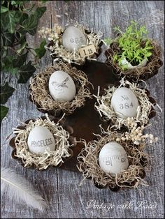 Easter Decoration - Stamped Cement Eggs in Rusty Baking Pan