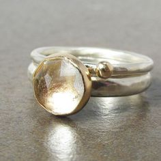Rose Cut White Topaz, Gold and Sterling Stack Rings