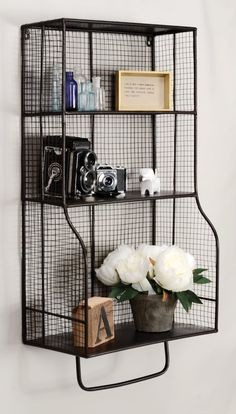 Add stylish storage to a bathroom, kitchen, office or entry with this Linon Home Decor Distressed Wall Storage Organizer. Wood Wall Shelf, Wood Floating Shelves, Metal Shelves, Black Metal Shelf, Bathroom Storage, Small Bathroom, Bathroom Ideas, Bathroom Shelves, Big Bathrooms