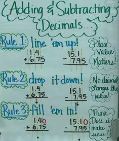 Adding & subtracting decimals anchor chart by sabrina Math Charts, Math Anchor Charts, Science Anchor Charts 5th Grade, Fifth Grade Math, Fourth Grade, Math Strategies, Math Tips, E Mc2, Homeschool Math