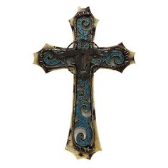 Western Cross Longhorn Turquoise Stone Look Design Metal Art Picture Wall Decor