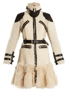 High-neck leather-trimmed shearling coat   Alexander McQueen   MATCHESFASHION.COM