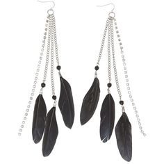 Charlotte Russe Feather Fringe Earrings (8.12 AUD) ❤ liked on Polyvore featuring jewelry, earrings, accessories, black, fringe jewelry, fringe earrings, charlotte russe earrings, feather earrings and earrings jewelry