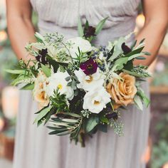 seeded eucalyptus, bay, olive, rosemary. Wild touch - Must-Have Wedding Bouquets - Sunset