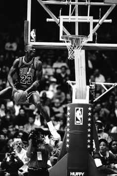 Michael Jordan of the Chicago Bulls attempts a dunk during the 1988 Slam Dunk Contest on February 1988 at Chicago Stadium in Chicago, Illinois. Basketball Tricks, Basketball Pictures, Basketball Legends, Love And Basketball, Sports Basketball, Sports Pictures, Basketball Players, Basketball Rules, Illinois Basketball