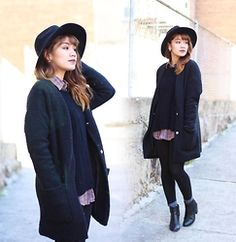 Leanne A - Goodwill Button Down, Forever21 Black Coat, Aldo Hat - Get away