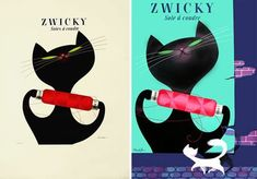 Created in the 1950s by Swiss artist Donald Brun, these two poster designs for Zwicky yarn feature swank kitty images that helped define the simple cartoon-like style of the mid twentieth century.""