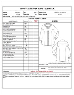 Cost Sheet Example For Developing Apparel Prodcut Fashion - Tech pack template