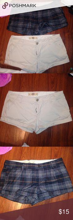 Hollister Short bundle 2pcs Hollister Short bundle 2pcs     PreLoved Size 9 Waist 29 Inseam wool plaid 2 inches  Inseam on khaki 2.25 Hollister Shorts