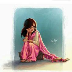 Sanjana V Singh Joli, Little Girl Cartoon, Cartoon Girls, Cartoon Illustrations, Cartoon Sketches, Cartoon Painting, Cartoon Art, Indian Illustration, Cute Illustration