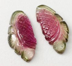 Watermelon Tourmaline Hand Carved Matched Pairs by gemsforjewels