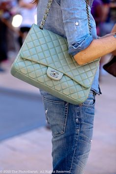 Denim on denim  amp  the mint Chanel flap  StreetStyle Chanel Purse 584464fe9b