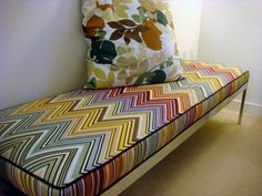 After: Missoni fabric with contrast piping saved it. Read more about this project in the Su Casa group.