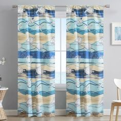 """Bring the beach look home with the Waves window curtain set from Aubrie Home Accents. This pair of curtain panels features a nautical design of anchors, turtles and more sea life to spruce up your bedroom, living room or dining room. Each panel measures 40"""" x 84"""" for a total width of 80 inches. The rod pocket header allows them to easily slip through for quick hanging. These curtains are made from polyester and are machine washable for easy care."""
